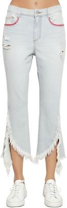 Sjyp Fringed Flared Cotton Denim Jeans