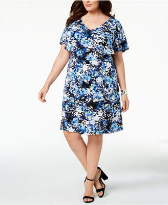 Connected Plus Size Printed Flutter-Sleeve Dress