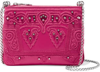 Christian Louboutin Triloubi Studded Embroidered Leather Shoulder Bag - Pink