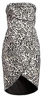 Black Halo Women's Tamara Leopard Strapless Tulip Dress - Size 0