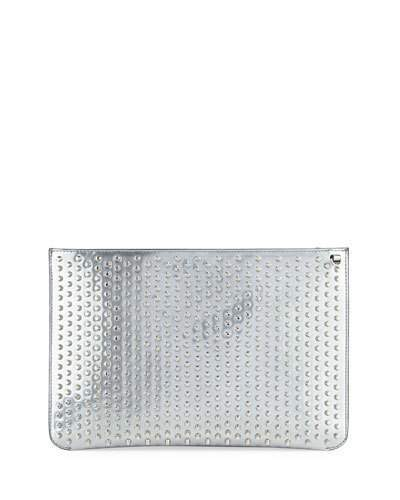 Christian Louboutin  Christian Louboutin Loubiclutch Spiked Clutch Bag, Gray
