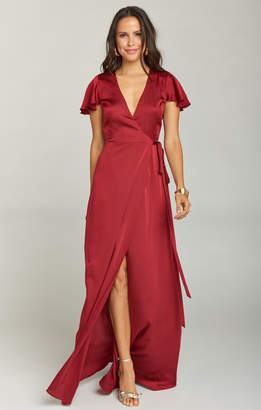 Show Me Your Mumu Noelle Wrap Dress ~ Ruby Luxe Satin
