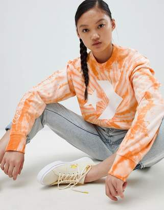 Converse Sweatshirt In Orange Tie Dye