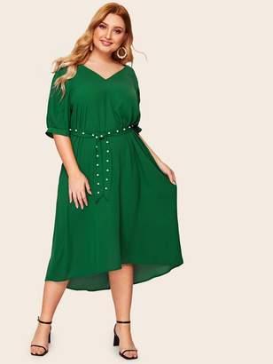 Shein Plus High Low Hem Pearl Embellished Belted Dress