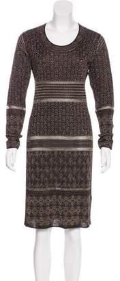Marchesa Voyage Metallic Knit Dress