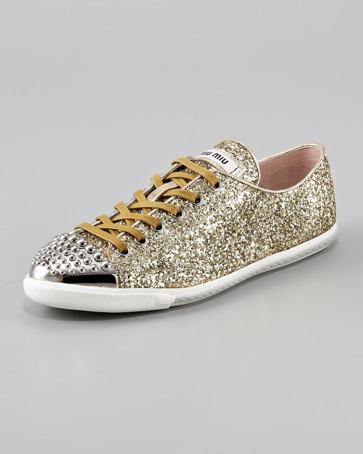 Miu Miu Glittered Stud-Toe Sneaker