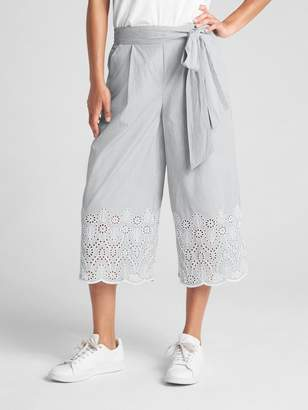 Gap Crop Wide-Leg Pants with Eyelet Hem