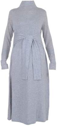 EAZO - Wool Mixed Long Knitted Dress With Waist Belt In Pale Grey