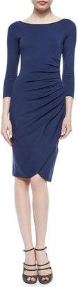 Armani Collezioni Bateau-Neck Side-Ruched Dress, Arles Blue $995 thestylecure.com