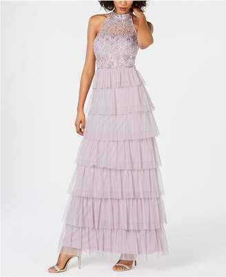 Adrianna Papell Embellished Tiered Halter Gown