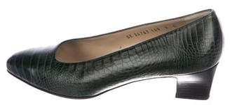 Salvatore Ferragamo Alligator Pointed-Toe Pumps