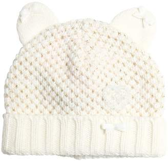Miss Blumarine Knitted Wool & Cashmere Hat W/ Lurex