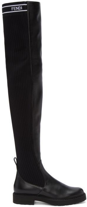 Fendi Black Lug Sole Over-The-Knee Boots