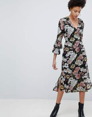 Selected Wrap Midi Dress With Ruffle Sleeves