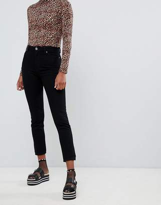 Monki Kimomo high waist mom jeans in deep black