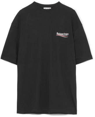 Balenciaga Printed Cotton-jersey T-shirt - Black