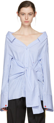 Off-White Blue Striped Long Sleeve Off-The-Shoulder Shirt $665 thestylecure.com