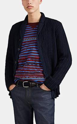Inis Meáin Men's Aran-Knit Linen-Cotton Button-Front Cardigan - Navy