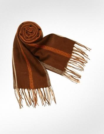 Marina D'Este Ethnic Pattern Fringed Wool Stole