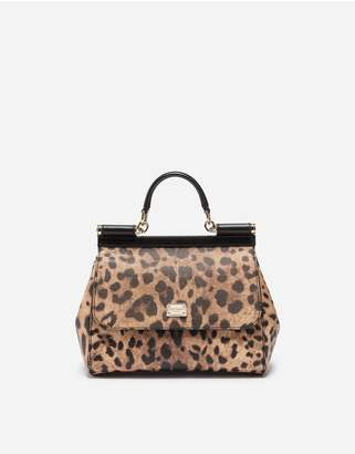 Dolce & Gabbana Medium Sicily Bag In Leopard Textured Leather
