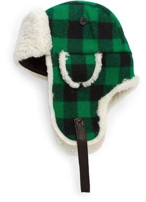 Crown Cap Men's Franklin Wool Plaid Aviator Hat