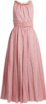 GÜL HÜRGEL Striped sleeveless cotton and linen-blend dress $668 thestylecure.com