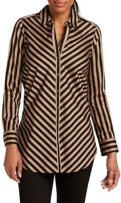 Foxcroft Ivy Diagonal Stripe Cotton Sateen Shirt