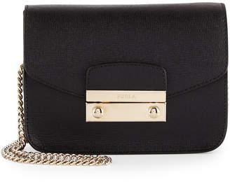Furla Julia Mini Leather Crossbody Bag, Onyx