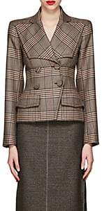 Fendi Women's Plaid Wool Double-Breasted Blazer - Brown