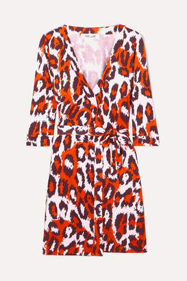 Diane von Furstenberg Julian Leopard-print Silk-jersey Mini Wrap Dress - Orange