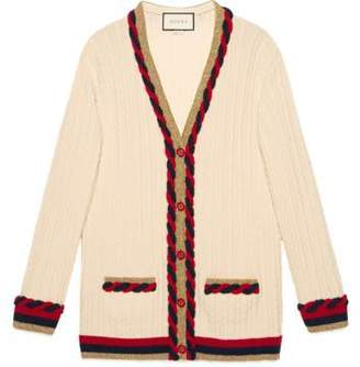 Gucci Cable knit cashmere wool cardigan