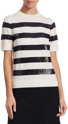 Carolina Herrera Women's Sequined Striped Top