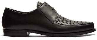 Bottega Veneta Intrecciato Woven Leather Derby Shoes - Mens - Brown