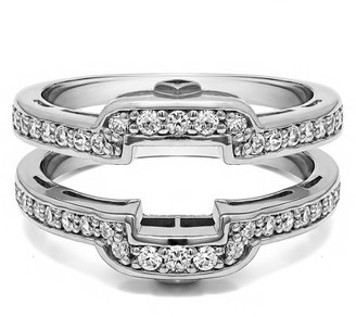 Twobirch TwoBirch 0.49 Ct. Square Halo Peek-a-Boo Wedding Ring Guard In 10k Solid Gold and White Sapphire