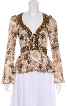 Andrew Gn Silk Printed Long Sleeve Blouse