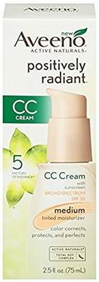 Aveeno Positively Radiant CC Cream SPF 30, Medium Tinted Moisturizer, 2.5 Ounce (2 Pack) by