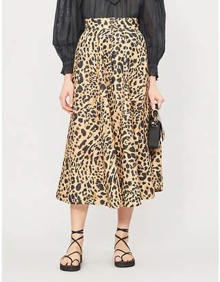 6444dca125fd Zimmermann Flared high-waist leopard-print linen midi skirt