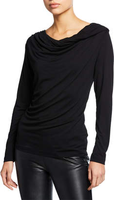 Neiman Marcus Cowl-Neck Long-Sleeve Stretch Top