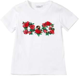 Dolce & Gabbana Rose Logo Print Cotton Jersey T-Shirt