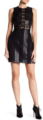 Zac Posen Sleeveless Faux Leather Contrast Dress