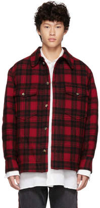 Isabel Marant Red and Black Virgin Wool Check Jacket