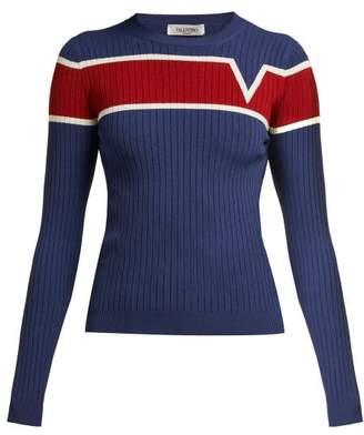 Valentino Logo Intarsia Ribbed Knit Sweater - Womens - Navy Multi