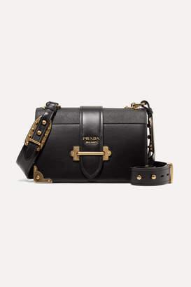 Prada Cahier Large Leather Shoulder Bag - Black