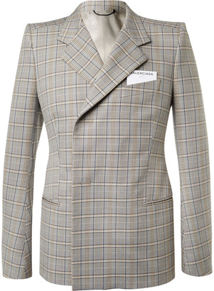 Balenciaga Beige Double-Breasted Checked Cotton Suit Jacket $2,150 thestylecure.com