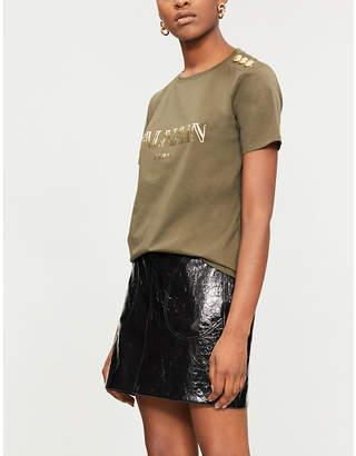 Balmain Metallic logo-print cotton-jersey T-shirt