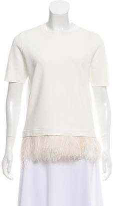 Burberry Feather-Trimmed Short Sleeve Top