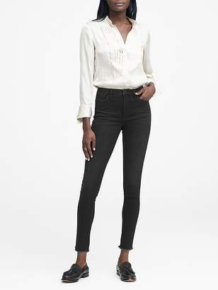 Banana Republic High-Rise Legging-Fit Black Ankle Jean with Fray Hem