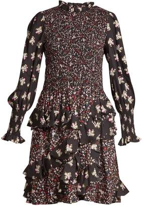 Rebecca Taylor Ruffle-trimmed floral-print hammered-silk dress