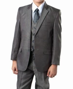 Tazio Tone On Tone Dark 2 Button Front Closure Boys Suit, 5 Piece