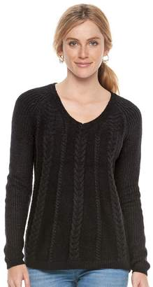 Sonoma Goods For Life Women's SONOMA Goods for Life Cable Knit V-Neck Sweater